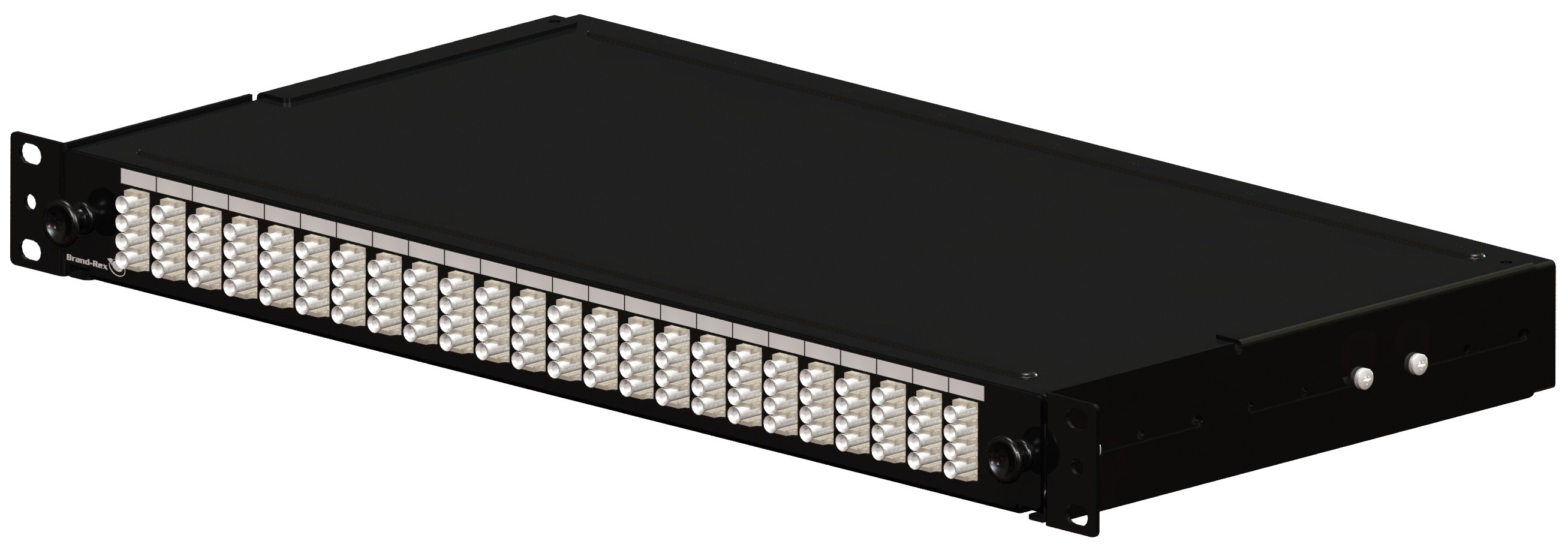 Brand-Rex Optical Panel loaded with 6 ST Multimode adapters