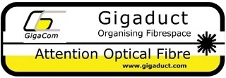 Label - Attention Optical Fibre - Sheets of 8 only