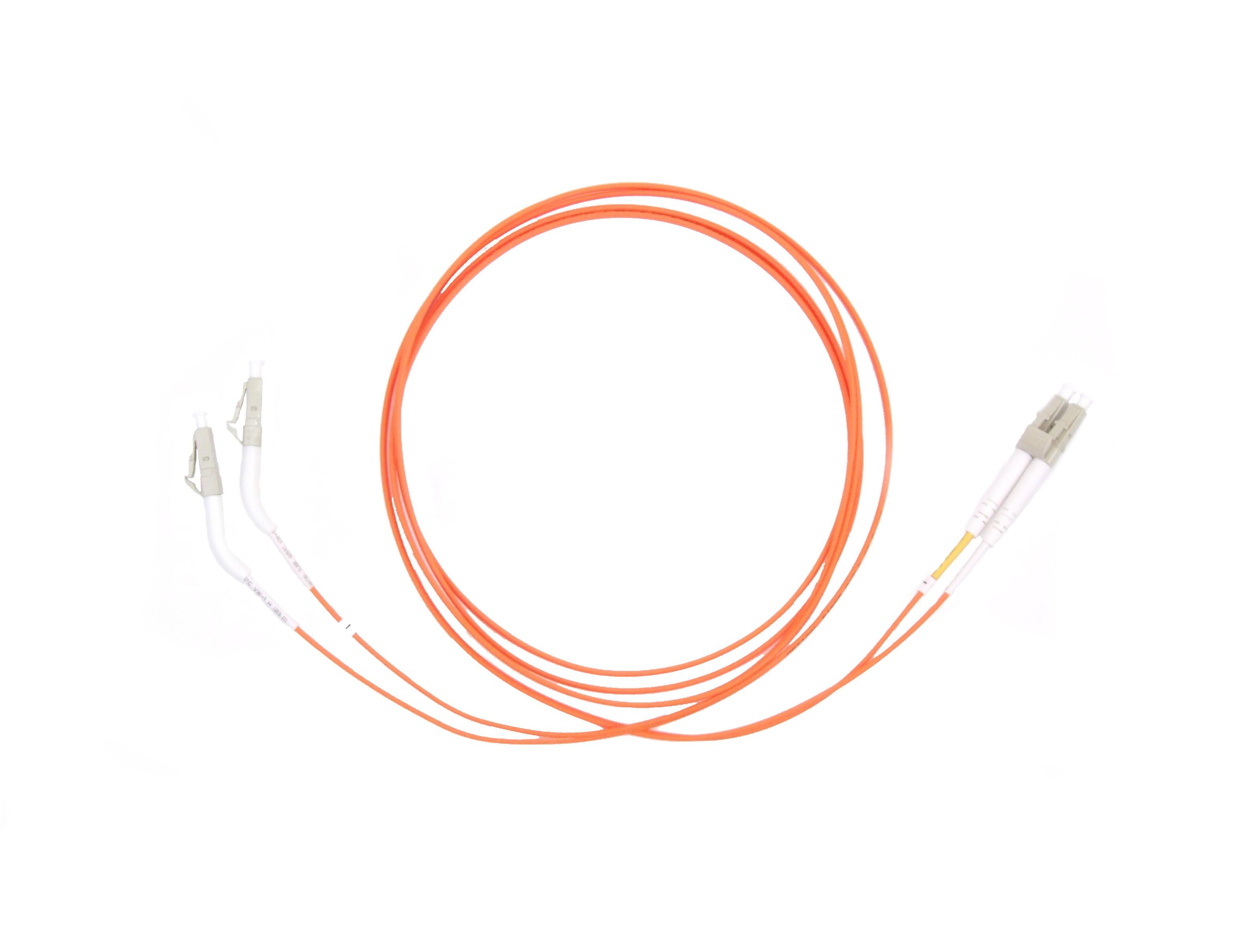 LC 45 deg boot - LC Multimode fibre patch lead 50/125 OM2 Duplex 5m