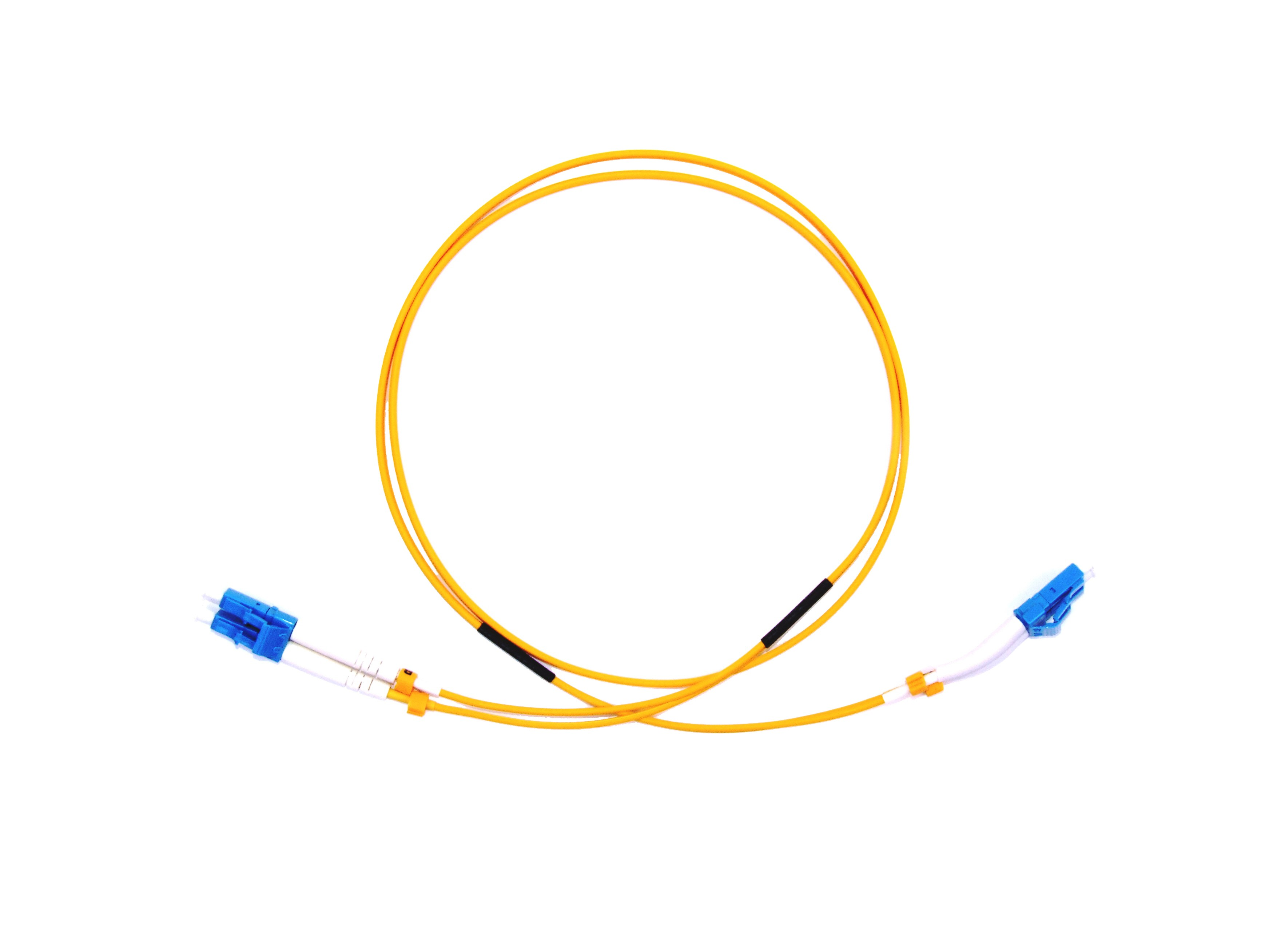 LC 45 deg boot - LC Singlemode fibre patch lead Duplex 15m