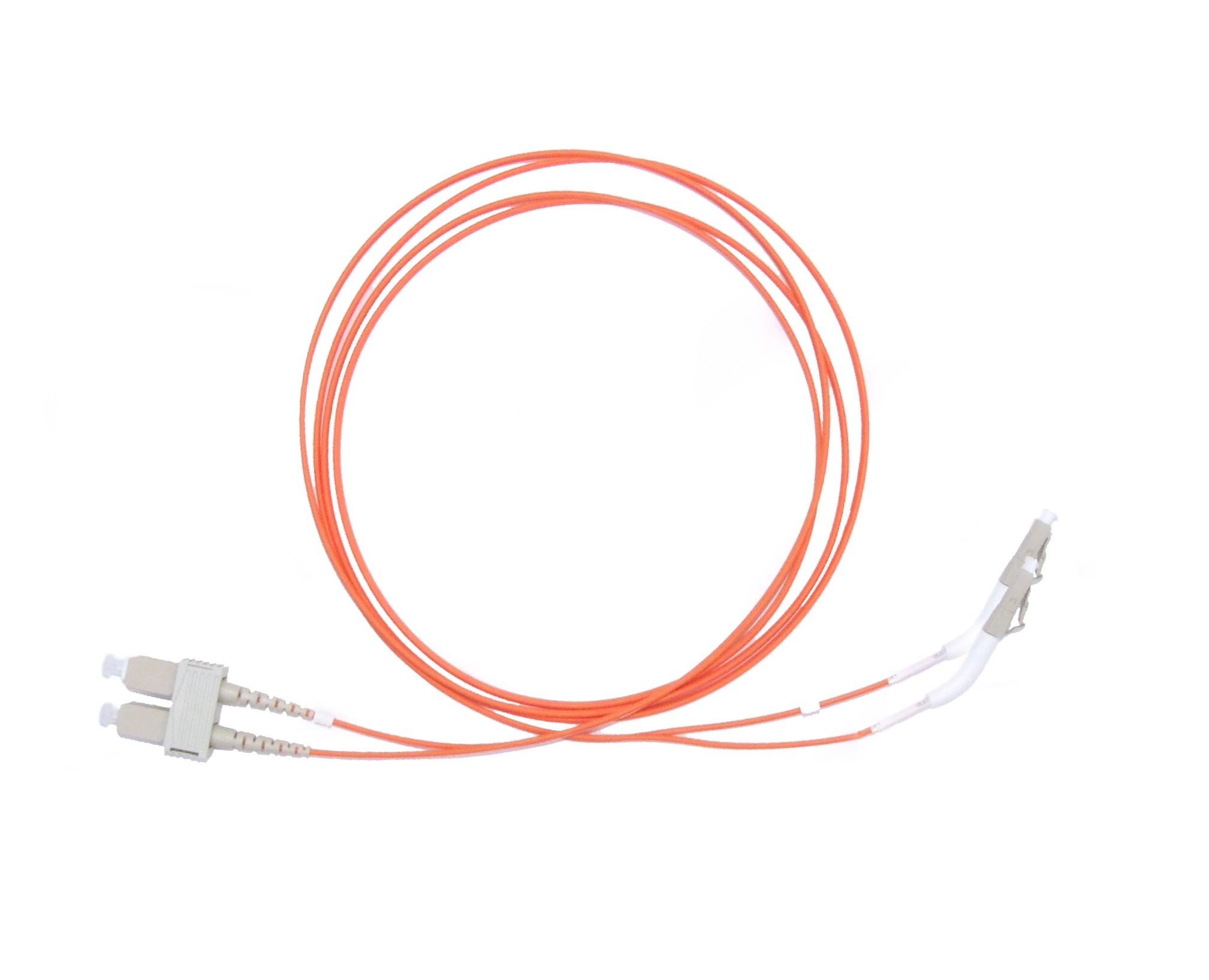 LC 45 deg boot - SC Multimode fibre patch cable 62.5/125 OM1 Duplex 2m