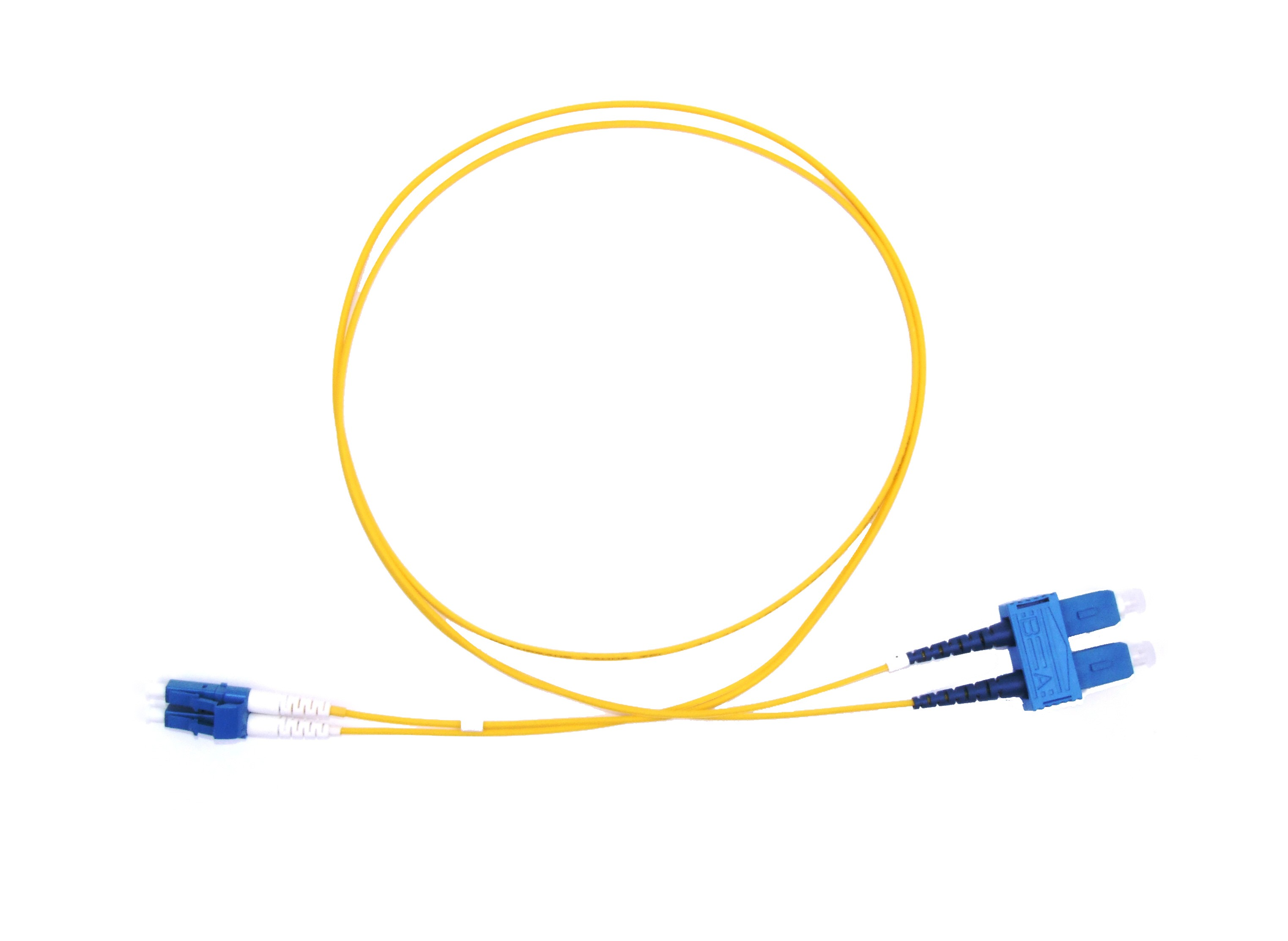 LC Short Boot - SC Singlemode fibre patch lead  1.6mm Duplex 3m