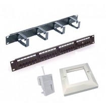 Cat5e Patching Kit, 24 Port Patch Panel and Wallpates