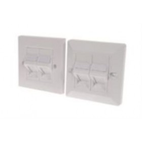 CAT5e Quad RJ45 shielded angled shuttered faceplate - disable