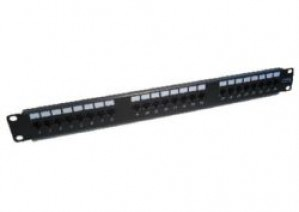 24-Port CAT6 Punch Down Patch Panel - 1u Black