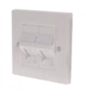 CAT5e Twin angled Shuttered faceplate kit