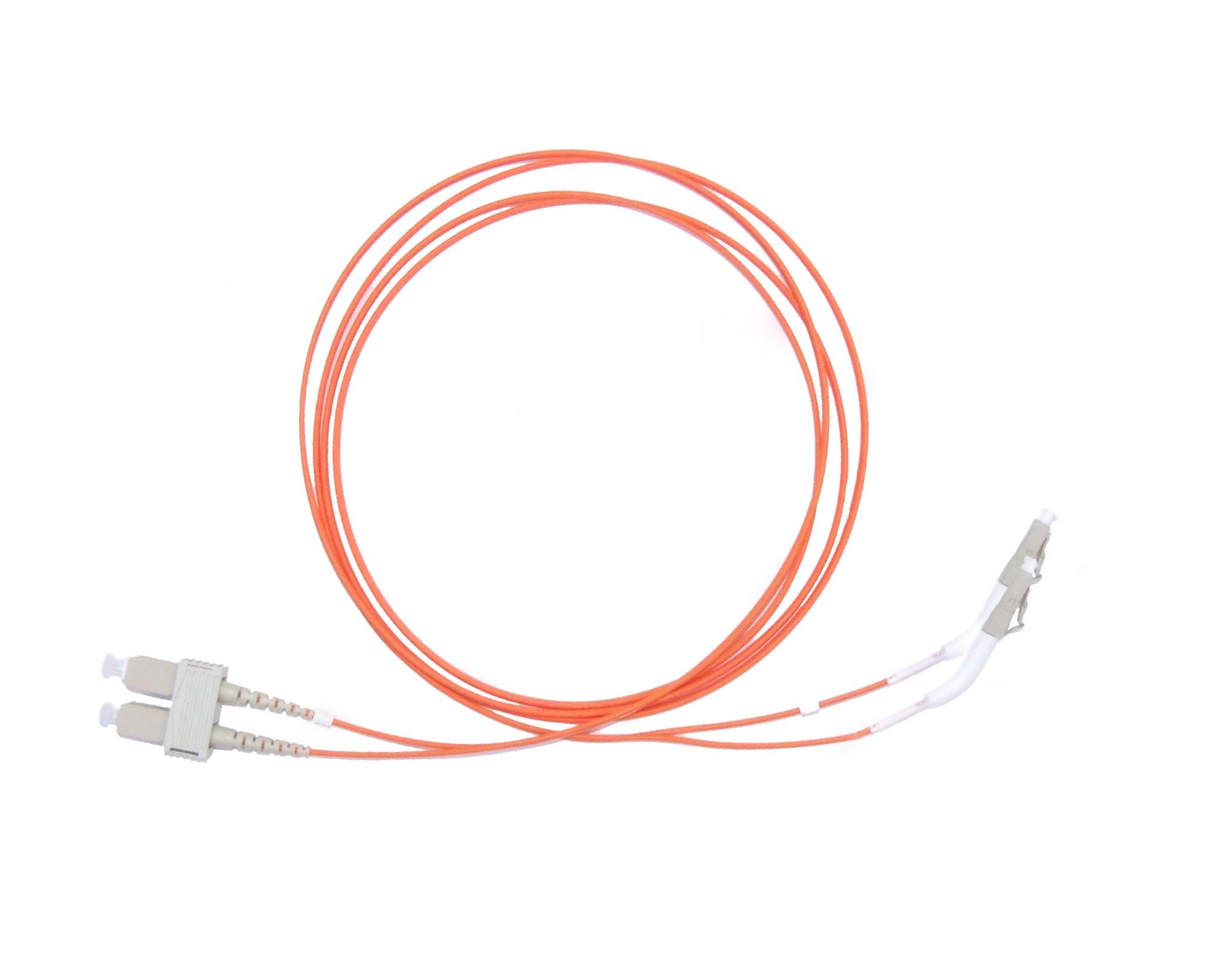 LC 45 deg boot - SC Multimode fibre patch cable 62.5/125 OM1 Duplex 7m
