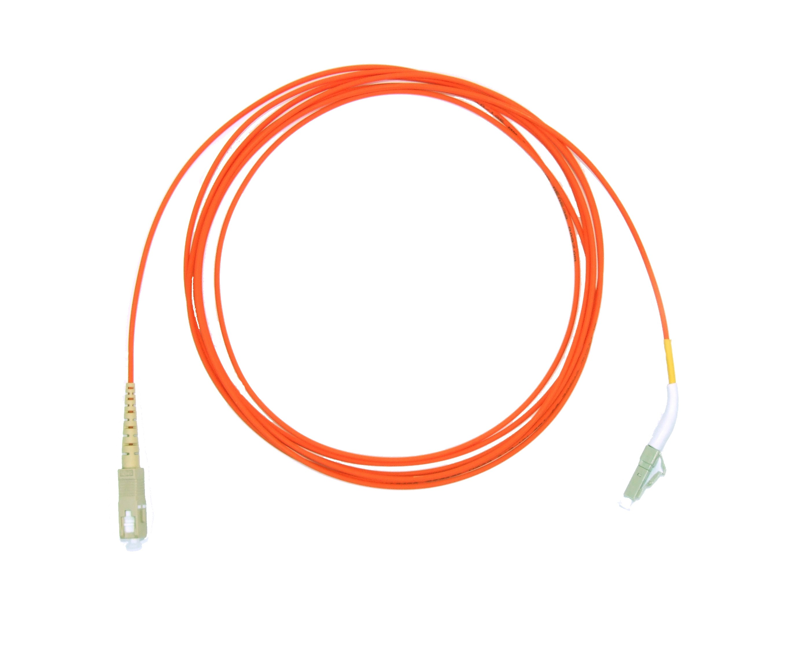 LC 45 deg boot - SC Multimode fibre patch cable 62.5/125 OM1 Simplex 2m