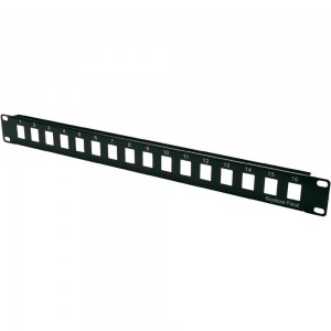 16 way keystone Patch Panel - Multimedia 1U Unloaded