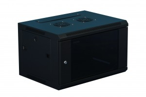 6U Data Wall Mount Cabinet  Black 600mm x 450mm